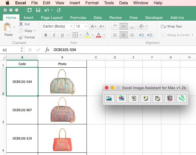 Excel Image Assistant for Mac Excel 2016